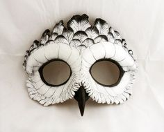 Close Family Snowy Owl Leather Mask by LibertiniArts on Etsy Owl Mask, Leather Mask, Animal Masks, Venetian Masks, Masks Art, Paperclay, Snowy Owl, Masquerade Ball, Masquerade Costumes