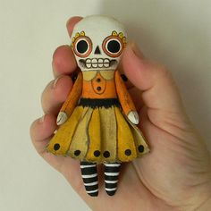 Halloween Skeleton Day of the Dead Ornament Doll. Really cool! #etsy