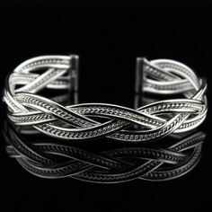 Trendy 925 Silver Mesh Cuff Bangles for Gift