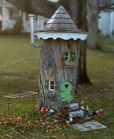Upcycled tree stump as a knome home!