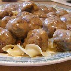 Ok, so there are a ton of meatball recipes on this site. Try it if you like savory, big meatballs to serve with whipped potatoes or egg noodles. Meatball Recipes, Meat Recipes, Dinner Recipes, Cooking Recipes, Kid Cooking, Cooking Lamb, Yummy Recipes, Recipies, Yummy Food