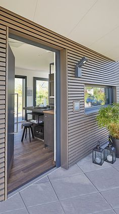 Next Wallpaper, Wood Slat Wall, External Cladding, Tiny Living, Home Remodeling, Bungalow, Tiny House, Building A House, Sweet Home