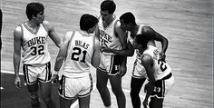 The 1986 team - Mark Alarie, Jay Bilas, Danny Ferry, Tommy Amaker and Johnny Dawkins. Lost to Louisville in the championship game.