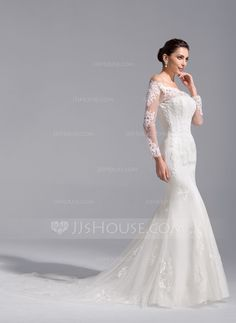 Trumpet/Mermaid Off-the-Shoulder Cathedral Train Tulle Lace Wedding Dress (002071760) - JJsHouse
