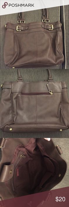 Merona Shoulder Bag Brown shoulder bag with gold buckles. Roomy with inside and outside zippered pouch. Bags Totes