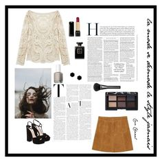 """Suède and skirts"" by jeannelegant ❤ liked on Polyvore featuring Miu Miu, Kowalski, Essie, Monki, Gucci, Janna Conner Designs, Chanel, Lancôme and NARS Cosmetics"
