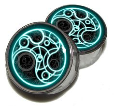 """Dr Who Time Lord Plugs - 1 Pair (2 plugs) - Sizes 0g, 00g, 7/16"""", 1/2"""", 9/16"""", 5/8"""", 3/4"""", 7/8"""", 1"""" - Made to Order"""