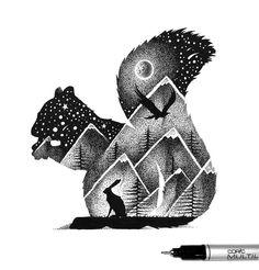 dessins-en-pointillisme-et-double-exposition-de-Thiago-Bianchini-6 Les dessins en pointillisme et double exposition de Thiago Bianchini