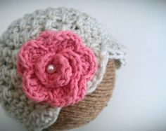 Crochet Baby Hat, Oatmeal Baby Girl Hat with Pink Rose, Baby Photo Prop