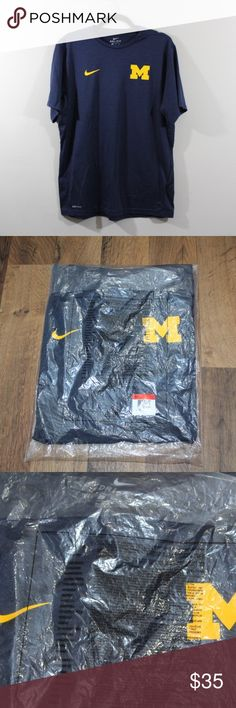 NIKE New In Bag NIKE Michigan Team Issued Shirt Nike Dri-Fit Team Issued Michigan Wolverines Short Sleeve Shirt  Shirt  New in bag. Taken out to take actual photos  Only issued to members of the athletic teams. Received from a coach  The size is Large and the measurements are 22 inches pit to pit and 28 inches shoulder to base.  Blue and Yellow  Polyester  Check out my other items in my store!  M1 Nike Shirts Tees - Short Sleeve