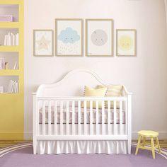 Quadros para parede para decorar quarto de bebê - Poster Sol, Lua, Nuvem e estrela