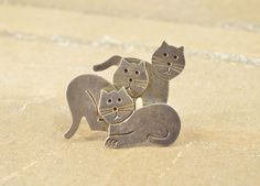 Artisan Style Three Kitty Cats Layered Pin / Brooch Sterling Silver