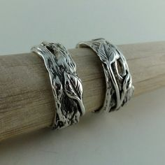 Sterling Silver Twig and Leaf Wedding Band Set Tree Branch