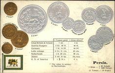 PERSIA IRAN Schahi Kran Currency c1910 Embossed Coins Postcard