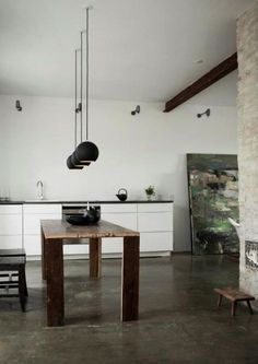 Beautiful artist home & studio with heated concrete floors, slate grey kitchen counter, rustic wooden dining table, and dramatic black stair by Norm Architects. Interior Design Blogs, Interior Design Minimalist, Interior Inspiration, Interior Designing, Minimal Design, Design Inspiration, Küchen Design, House Design, Design Ideas