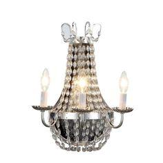 "Elegant Lighting 1433 Roma Wall Sconce W-13"" H-16.5"" Ext-9"" Lt-3 Silver Nickel #ElegantLighting"
