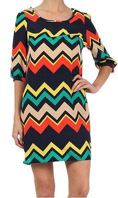 Women's Color Block Chevron Zigzag Quarter Sleeve Shift Casual Day Dress s M L