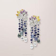 Van Cleef & Arpels for Les Ateliers Créations Fleur Sacrée earrings, Palais de la chance collection in white gold, diamonds, colored sapphires
