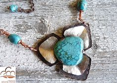 Genuine Turquoise on Sterling Silver and Copper by 100Pretentions