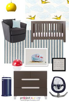 Modern Blue, Gray + Yellow Nursery Design Board - amazing pieces from @PishPoshBaby!