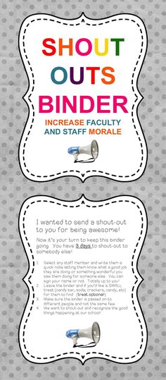 Morale Shout Outs Binder Raise staff morale in December when anxiety is rising. Shout outs for faculty morale.Raise staff morale in December when anxiety is rising. Shout outs for faculty morale. Staff Meetings, Faculty And Staff, School Staff, School Counselor, Sunday School, Middle School, Teacher Morale, Employee Morale, Staff Morale