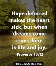 Hope deferred makes the heart sick, but when dreams come true, there is life and joy. -Proverbs 13:12