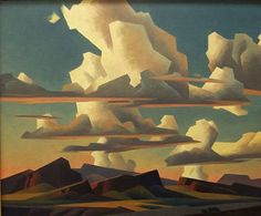 Ed Mell, Floating Clouds. Oil on canvas. I like his style and the color values in this work.reminds me of a collage but its paint. He does a lot of clouds. I love clouds. Claude Monet, Pablo Picasso, Vincent Van Gogh, Landscape Art, Landscape Paintings, Landscapes, Mary Cassatt, Renoir, Native American Art