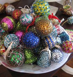 Bead and Sequin Ornaments. I remember my mom and grandma use to make these. I still have a couple from my childhood.