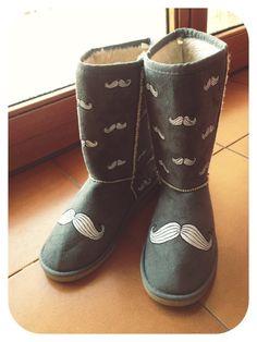 "Handpainted custom boots like uggs ""Mustaches"""
