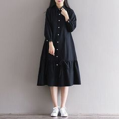 Women loose fit plus over size dress button maxi long sleeve tunic casual chic unbranded dress anyoccasion comfy but still polished Stylish Dresses For Girls, Simple Dresses, Nice Dresses, Casual Dresses, Hijab Casual, Loose Dresses, Muslim Fashion, Hijab Fashion, Fashion Dresses