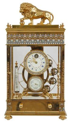 Antieke French Mantle: Enameled rolling ball French mantle clock