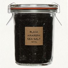 BLACK HAWAIIAN SEA SALT Evaporated from above-ground pools formed from centuries of lava flow, this Pacific sea salt is mixed with activated charcoal for a soft, smoky flavor. Charcoal is added for the health benefit of its natural detoxifying effects. A nice addition to salads, vegetables, and meats, this deep black salt and simple packaging are a striking accent for your table or countertop, particularly when displayed with our Pink Himalayan Salt and Organic Grey Salt. 160ml $12.00