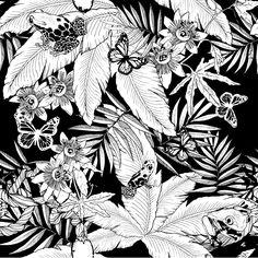 Monochrome Jungle by Glenn Todd Pattern Vegetal, Jungle Tattoo, Black And White Art Drawing, Jungle Flowers, William Morris, Wall Drawing, Movie Poster Art, Plant Illustration, Monochrom