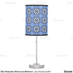 Blue Romantic Moroccan Abstract Floral Pattern Desk Lamp