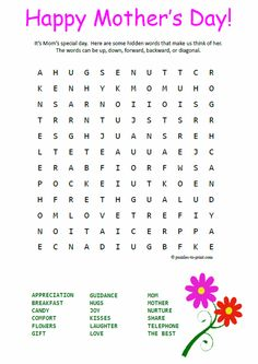 Mother's Day Word Search. Here's a great way to get everyone in the mood for Mother's Day, celebrated all over the world although on different dates. #Printable #wordsearch
