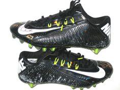 Michael Wilhoite San Francisco 49ers Game Worn   Signed Black   White Nike  Vapor Carbon Cleats 386c490bea3