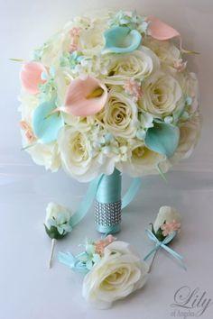 17pcs Wedding Bridal Bouquet Set
