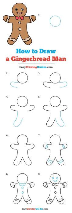Learn How to Draw a Gingerbread Man: Easy Step-by-Step Drawing Tutorial for Kids and Beginners. #GingerbreadMan #drawingtutorial #easydrawing See the full tutorial at https://easydrawingguides.com/how-to-draw-gingerbread-man/.