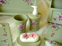 hand painted sage bath set