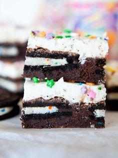 Oreo Cookie Stuffed Brownies with Vanilla Buttercream Frosting