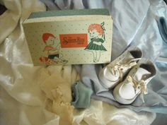 "vintage old leather children for sale in my store The Chic N Prim cottage ebay have to put in the ""the "" in search engine $10 FREE Shipping when you spend $30 or more!white shoes baby box nursery doll display pair"