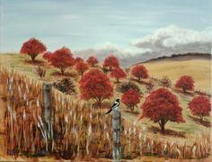 My painting - Granite Belt 'Red'. (with Butcher bird in foreground)  sold