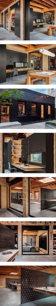 escritório, cimento queimado, madeira, preto, tijolo aparente, metal