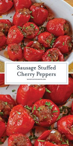 Sausage Stuffed Cherry Peppers Easy Appetizer Recipe - Sausage Stuffed Cherry Peppers are a tasty and easy appetizer recipe using only 5 ingredients. The perfect party food for any occasion! Cold Party Appetizers, Appetizers For A Crowd, Easy Appetizer Recipes, Appetizers For Party, Potato Recipes, Meat Recipes, Drink Recipes, Delicious Recipes, Recipes