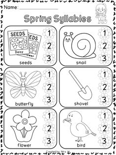 Spring Literacy and Math Printables - Kindergarten - Spring Syllables