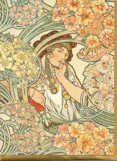 ALPHONSE MUCHA Greeting Cards BYZANTINE Pink 1900 Brand New Art Deco Repro Cards