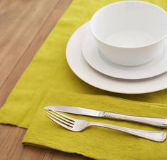 The placemat is x and the fabric is doubled in the middle for substance. Fabric Placemats, Natural Linen, Table Linens, Linen Fabric, Anthropologie, Middle, Eat, Tableware, Tablecloths