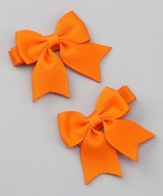 Another great find on #zulily! Tangerine Sweet Sarah Bow Clip - Set of Two #zulilyfinds