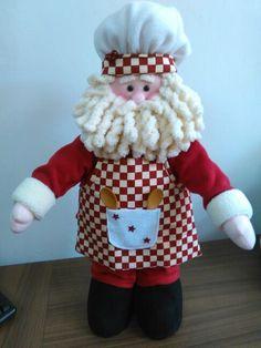 Santa cocinero Christmas Elf Doll, Christmas Fabric, Primitive Christmas, Christmas Tree Toppers, Felt Christmas, Christmas Crafts, Christmas Decorations, Xmas, Holiday Decor
