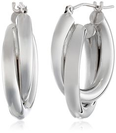 White Gold Double Tube Hoop Earrings * More info could be found at the image url. (This is an affiliate link) Fine Jewelry, Women Jewelry, Jewelry Making, Coin Pendant, Gold Hoop Earrings, Jewelry Supplies, Diamond Jewelry, Tube, White Gold